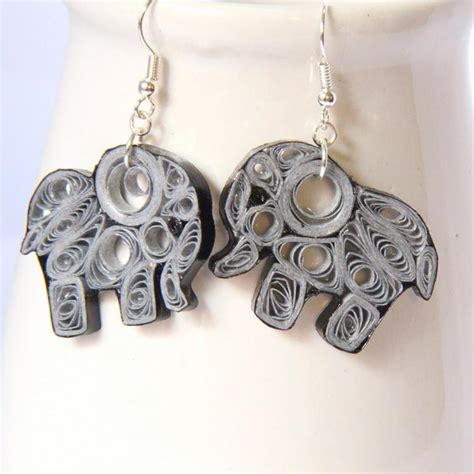 Paper Quilling Earrings - you to see paper quilled elephant earrings by