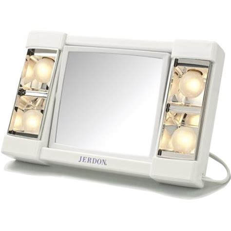 Lighted Makeup Mirror Walmart by Jerdon 6 Quot Portable Tabletop 2 Sided Swivel Lighted Makeup