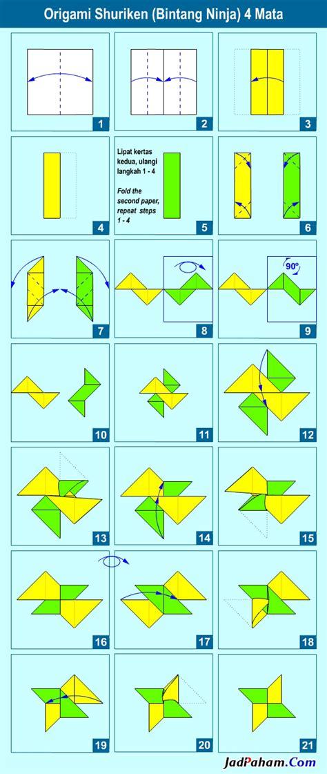 membuat origami shuriken cara membuat origami shuriken bintang ninja 4 mata