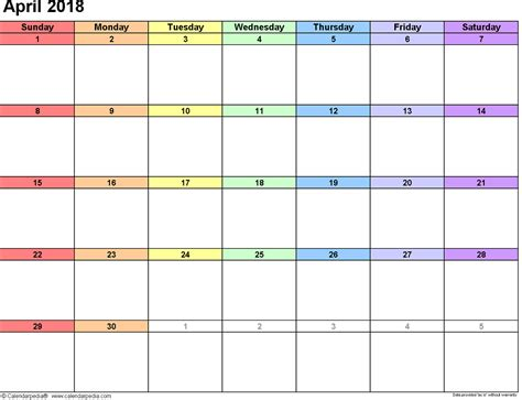 2018 Printable Calendar Word April 2018 Calendar Printable With Holidays Excel Pdf
