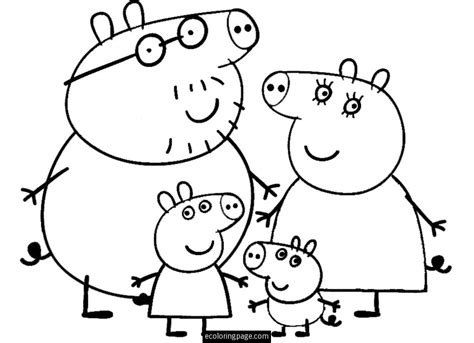 peppa pig drawing templates peppa pig and family coloring page for printable