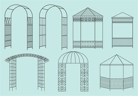 gazebo structure metal structure gazebos free vector stock