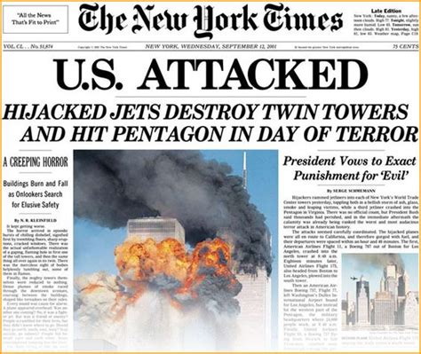 911 Essay Titles by Pictures From September 11 2001 Images America 9 11 Newspaper Cover New