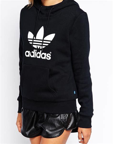 Hoodie Adidas Black 1 Lyst Adidas Originals Trefoil Hoodie In Black