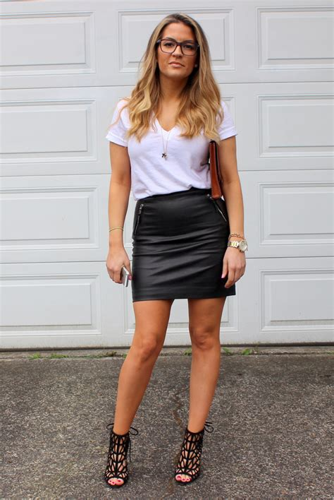 t shirt and leather skirt redskirtz