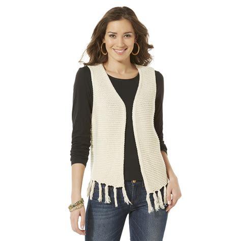 Cardigan Atasan Wanita Typograph Vest river blues s fringe sweater vest
