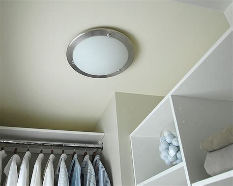 Simple Dressing Room with Round Ceiling Closet Light Design, White Wooden Shelves Rack Closet