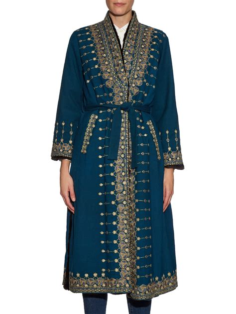 Embroidered Coat etro embroidered fur lined coat in teal green gold lyst