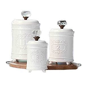 mud pie 4931002 kitchen canister set of 3 white buy amazon com mud pie 4931002 kitchen canister set of 3