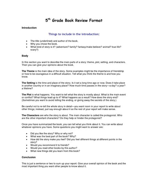 Book Report Template 5th Grade