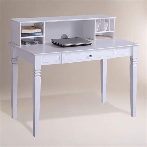 White Wood Douglas Desk With Hutch World Market Desk With Hutch