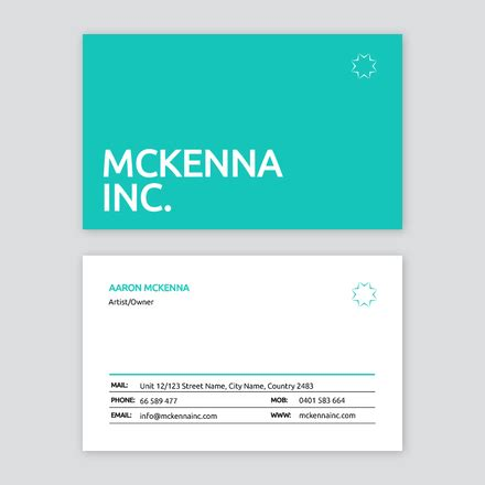 table layout business card