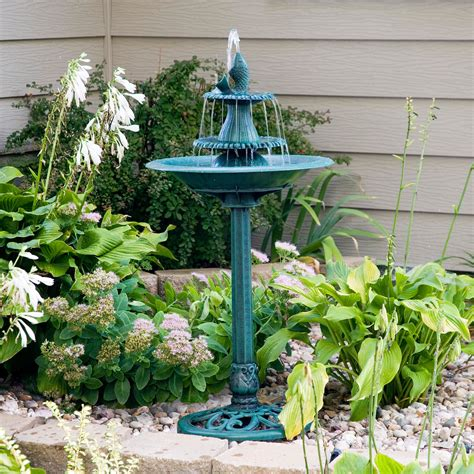 alpine bird bath fountain with fish bird baths at hayneedle