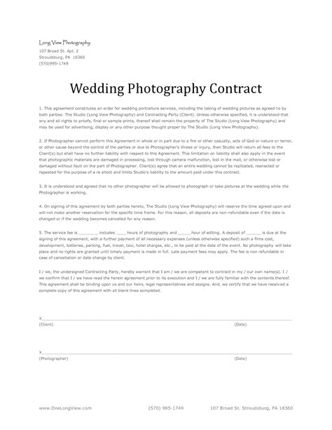 template wedding photography contracts template photographer