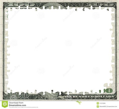 bank note template blank 100 dollars bank note puzzle frame royalty free