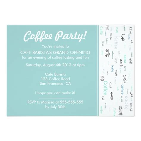 Invitation Letter New Store Opening Blue Coffee Store Cafe Shop Opening Invitations