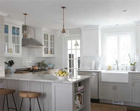 Jeff Lewis Paint by Bianco Macabus Quartzite Transitional Kitchen