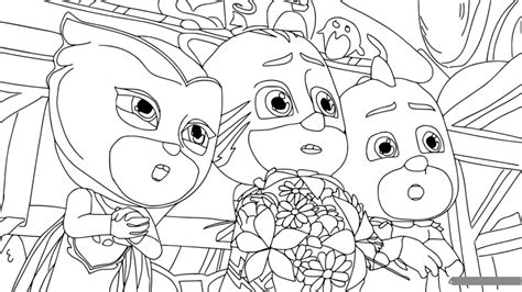 PJ Masks Gang Tensed Coloring Page   Free Coloring Pages