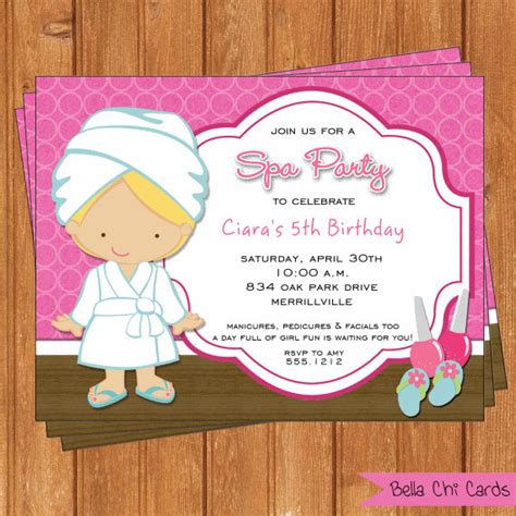 printable editable birthday cards spa party pink invitation kids birthday printable