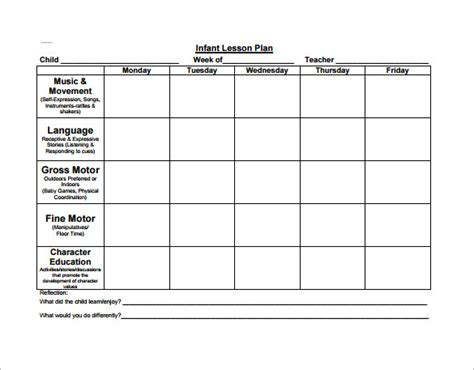 lesson plan template for kindergarten preschool lesson plan template 11 free sle exle