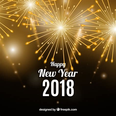 new year happy new year 2018 background with golden fireworks