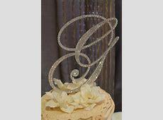 "Items similar to 6"" Crystal Monogram Wedding Cake Topper ... M Monogram Wedding Cake Toppers"