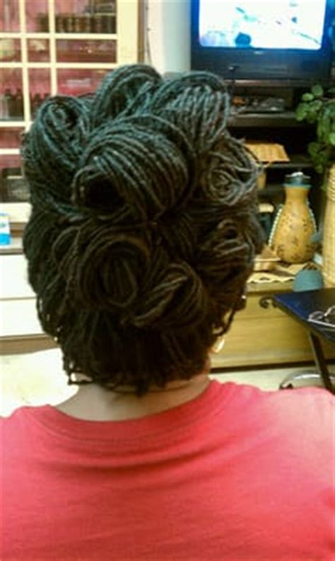 keratin perm with sisterlocks sisterlocks updo for thining hair yelp