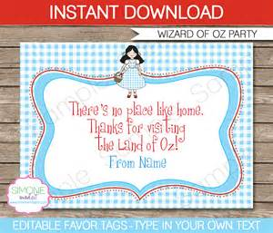 wizard of oz templates wizard of oz favor tags thank you tags