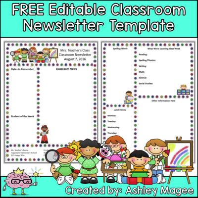 Teacher Newsletter Template Free Free Classroom Newsletter Templates