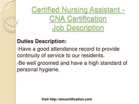 Duties Of A Cna by Sle Cna Certified Nursing Assistant Description Slebusinessresume