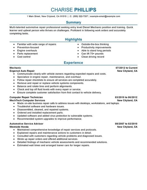 best entry level mechanic resume exle livecareer