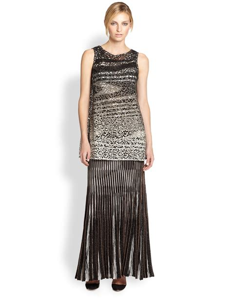 missoni lurex knit pleated maxi skirt in black black