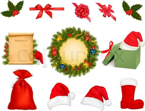 set  christmas objects vector stock vector colourbox