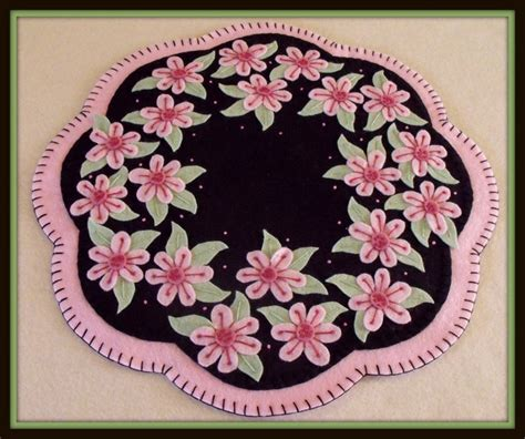 pennys rugs handstitched quot cherry blossoms quot wool felt rug candlemat