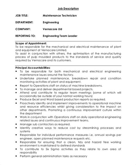 sle maintenance job description 9 exles in pdf word
