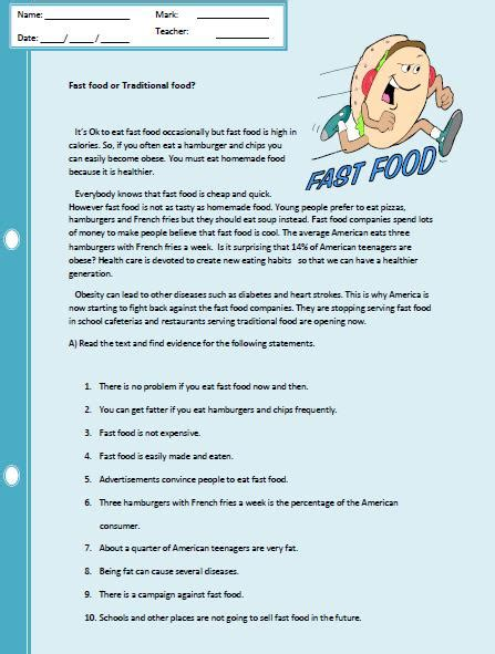 reading comprehension test about food fast food reading comprehension worksheet