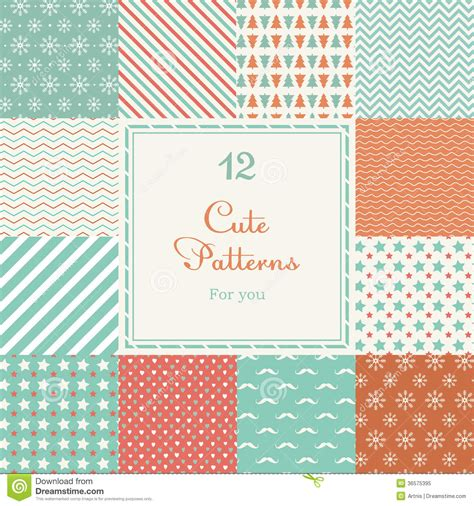 cute pattern material 12 cute different vector seamless patterns tiling