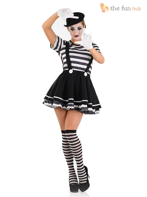 clothing shoes accessories costumes womens costumes mens ladies mime artist costume black white couple circus