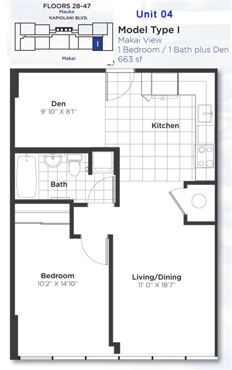 Bedroom Floor Plan pacifica floor plans honolulu hawaii