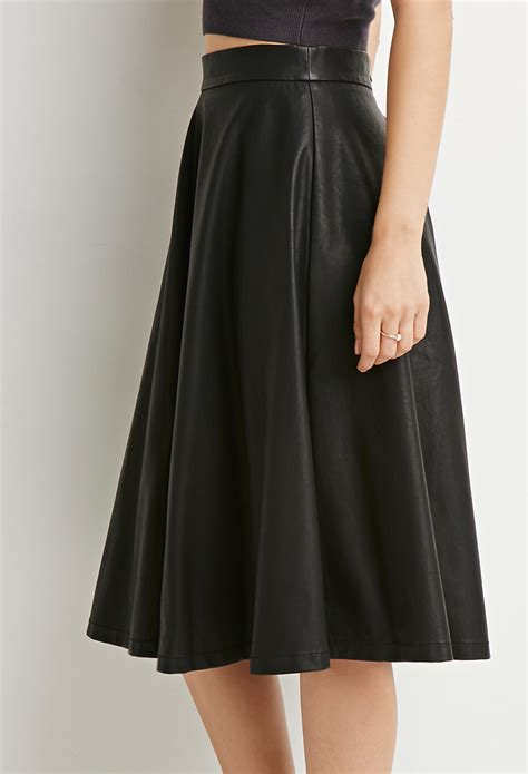 21 contemporary faux leather a line skirt in black lyst