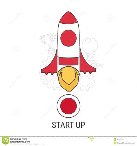 free illustration startup start up business start flat line design concept for start up flat rocket