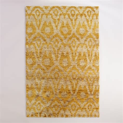 yellow ikat rug 6 x9 yellow ikat knotted jute area rug world market
