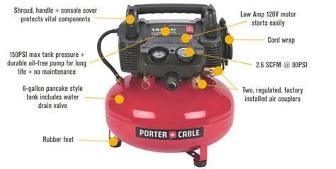 porter cable portable electric pancake air compressor kit 0 8 hp 6 gallon 2 6 cfm model