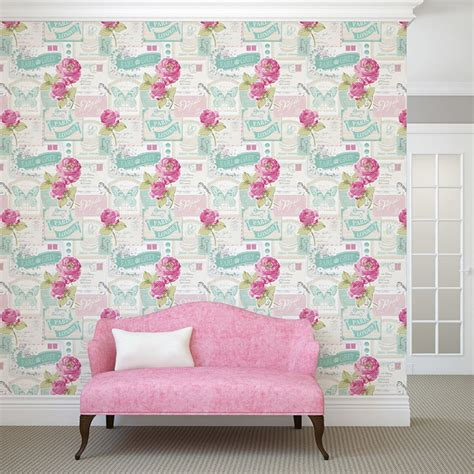 wallpaper for walls ebay uk shabby chic floral wallpaper in various designs wall decor