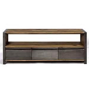 meuble tv industriel en m 233 tal et bois recycl 233 meuble 100