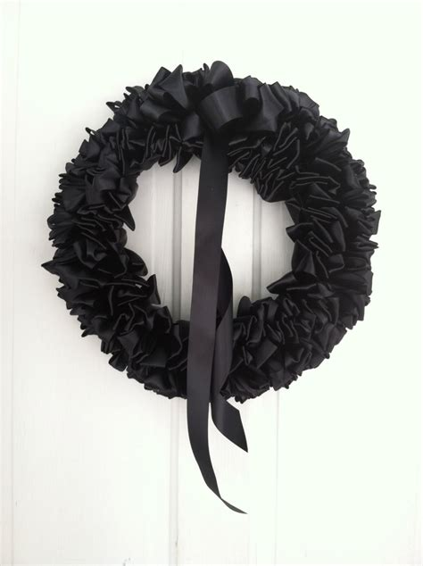 black ribbon wreath funeral mourning wreath loss grief 16 inch