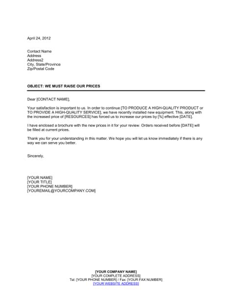 business letter template price increase sle business