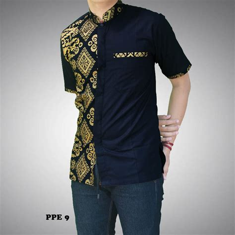 Kemeja Pria Reguler Modern Lengan Panjang Dkl07 100 gambar batik pria lengan panjang kombinasi dengan model baju batik pria lengan panjang