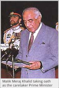 biography of malik meraj khalid malik meraj khalid becomes caretaker prime minister