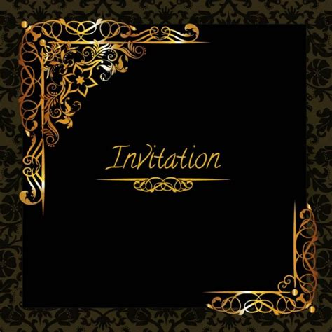 elegant golden design invitation template vector free